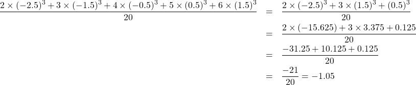 \begin{eqnarray*}\frac{2\times(-2.5)^3+3\times(-1.5)^3+4\times(-0.5)^3+5\times(0.5)^3+6\times(1.5)^3}{20}&=&\frac{2\times(-2.5)^3+3\times(1.5)^3+(0.5)^3}{20}\\&=&\frac{2\times(-15.625)+3\times3.375+0.125}{20}\\&=&\frac{-31.25+10.125+0.125}{20}\\&=&\frac{-21}{20}=-1.05\end{eqnarray*}