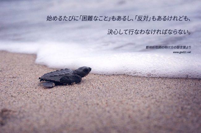 始めるたびに「困難なこと」もあるし、「反対」もあるけれども、 決心して行なわなければならない。