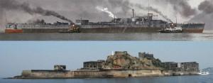 軍艦島と戦艦土佐